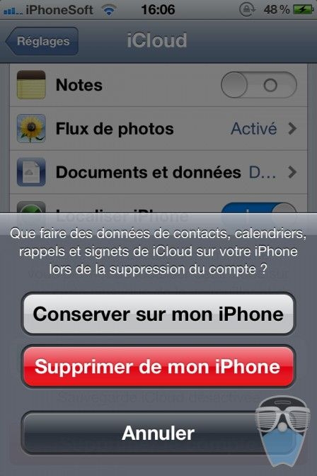 supprimer compte icloud iphone 4
