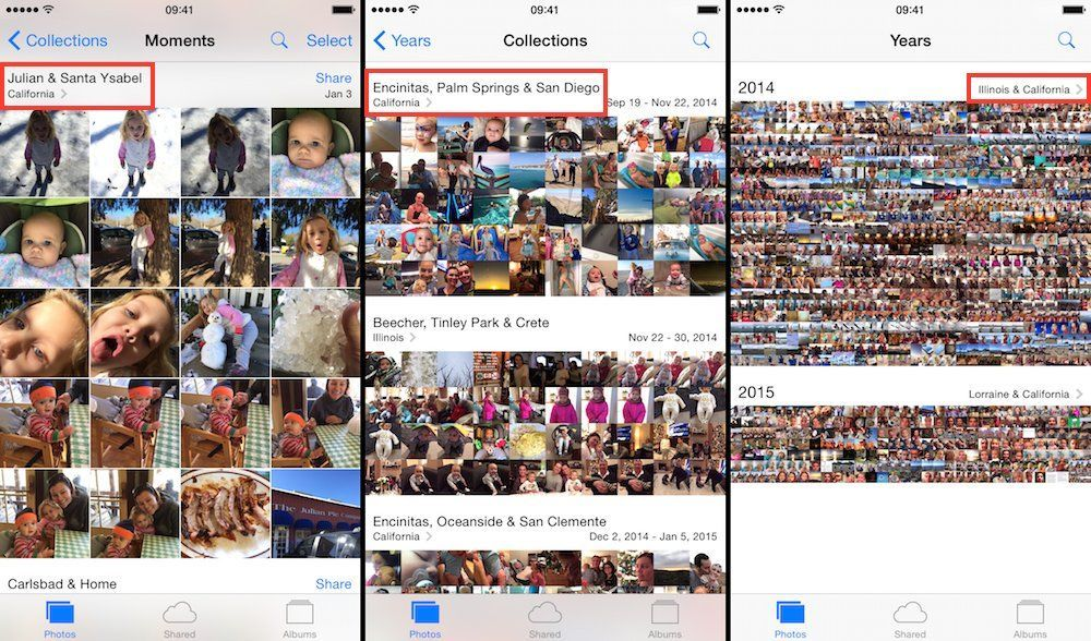moments collections years photos app