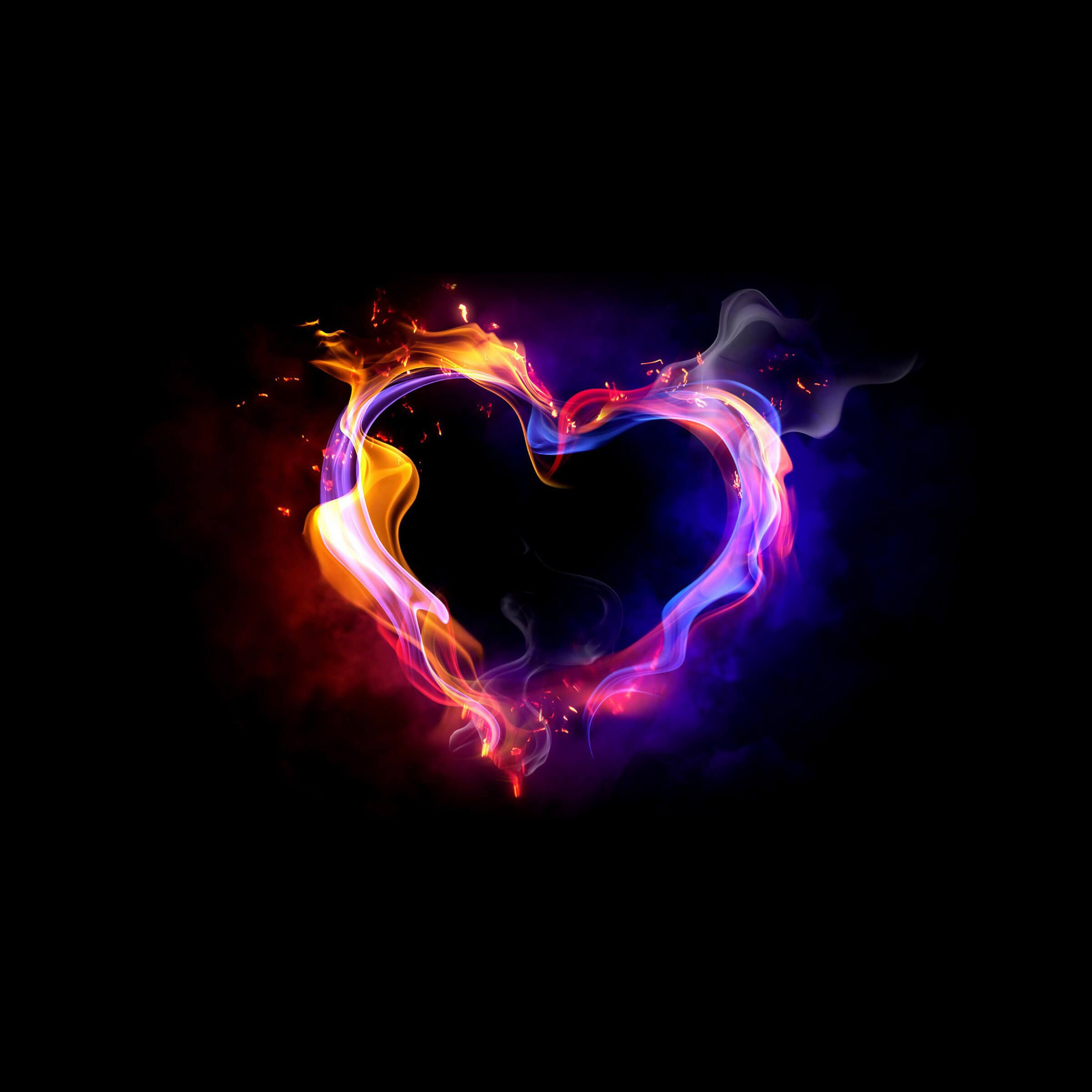 wallpaper ios coeur fumant smoky heart st valentin ipad