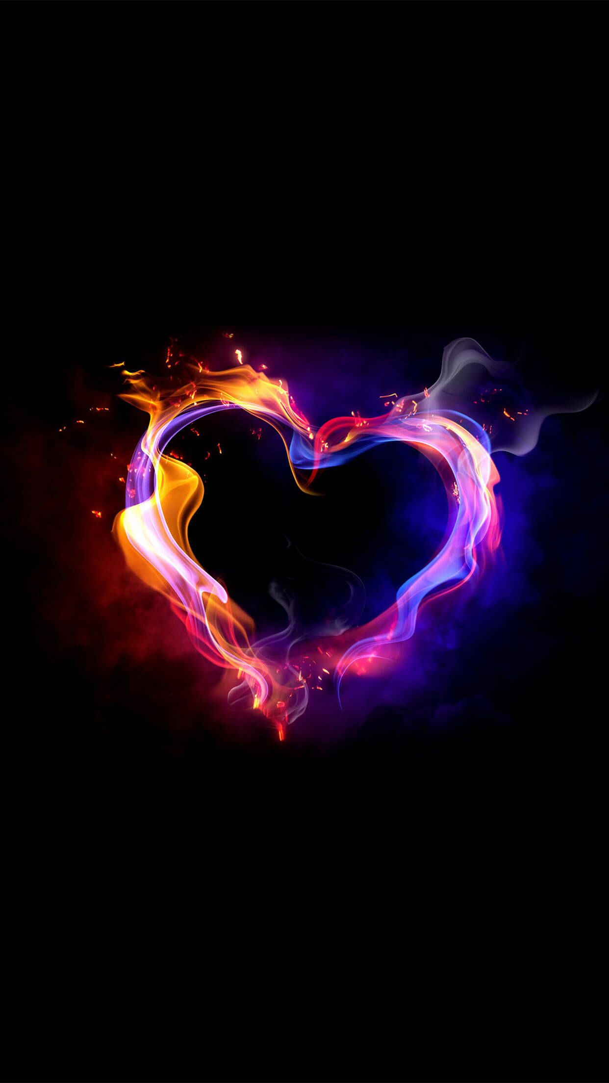 wallpaper ios coeur fumant smoky heart st valentin iphone