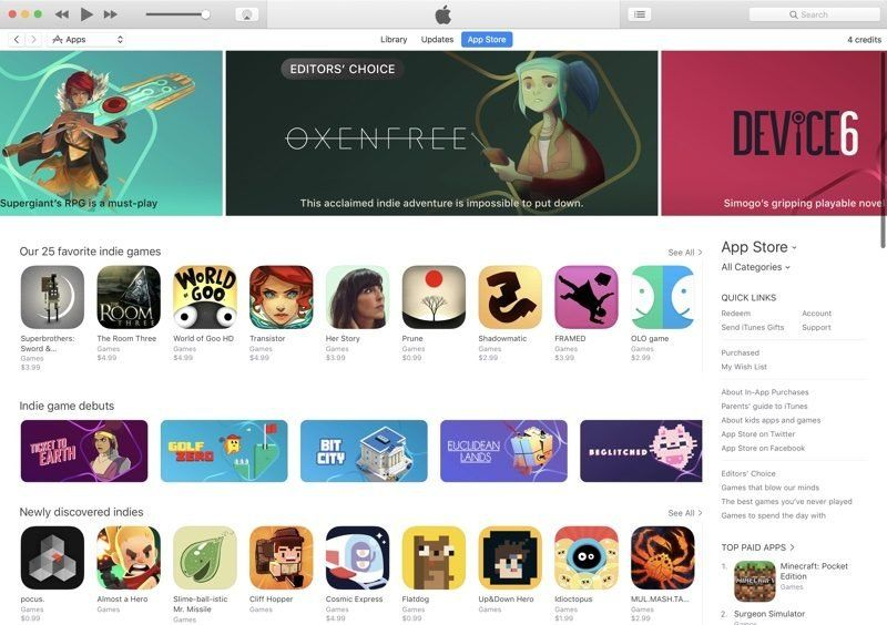 app store jeux independants
