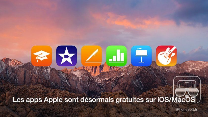 Apple passe ses apps à gratuites : Keynote, Numbers, Pages, iMovie, GarageBand