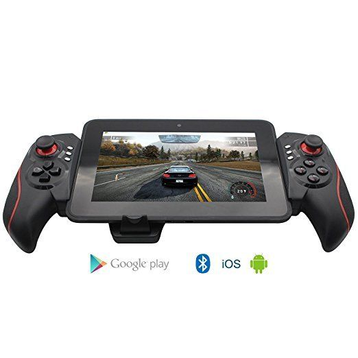 manette sans fil gamepad bluetooth stk7003 avec support pour android   iphone   noir rouge
