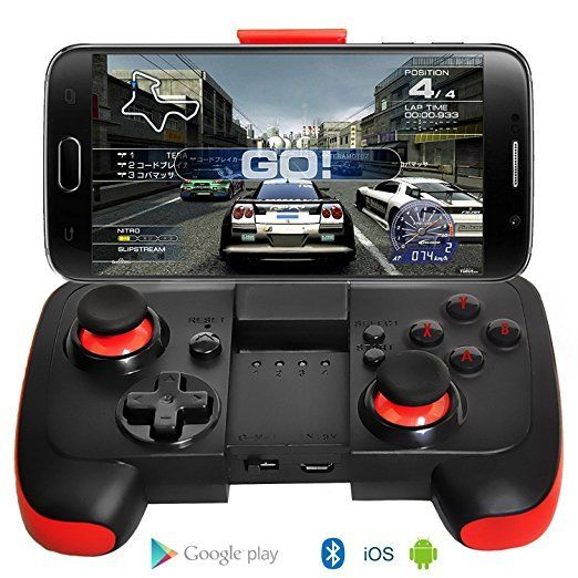 manette sans fil ultra mince gamepad bluetooth avec support pour android   iphone   noir rouge