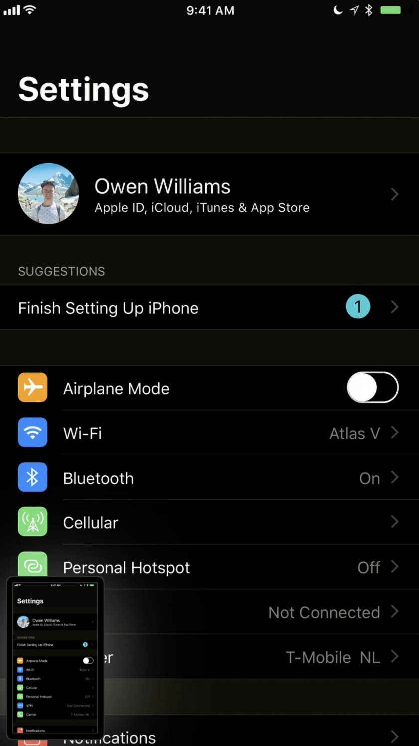 dark mode ios 11