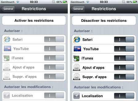 Restriction achats in-app