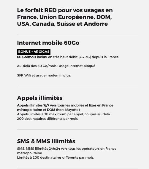 RED by SFR : le forfait 60 Go international pour 15€mois à