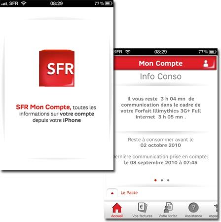 SFR MON COMPTE en version 2.0 - Applications iPhone - iPhoneSoft