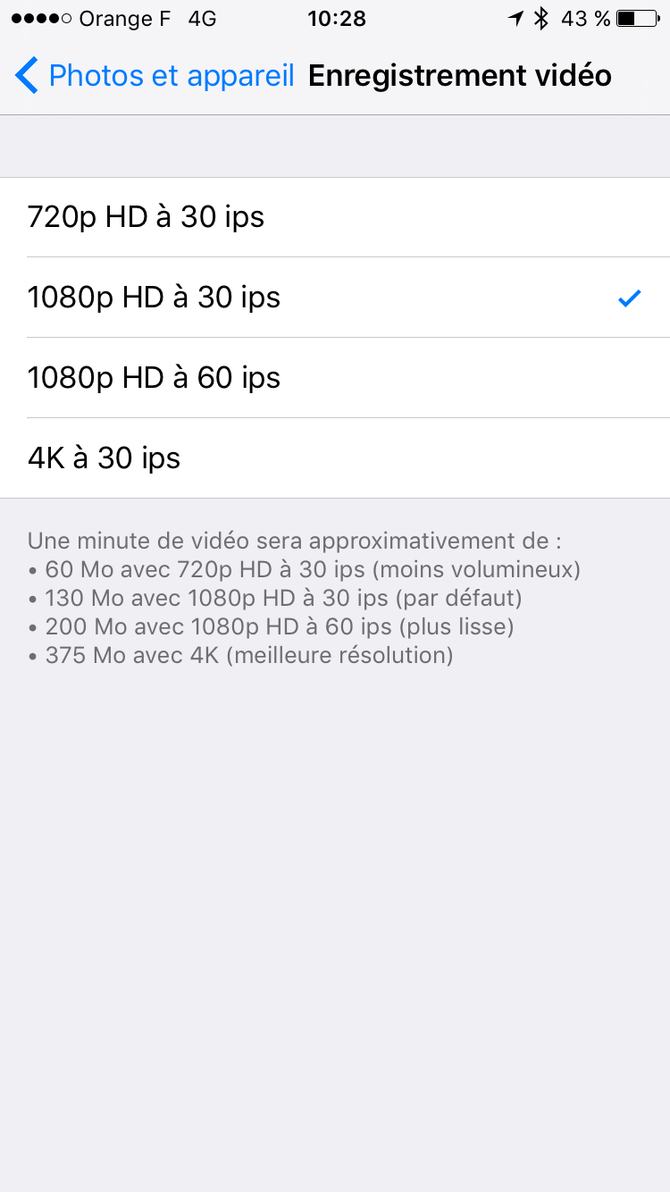 activer 4k iphone 6s