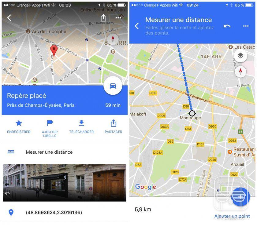 calcul distance sur carte Google Maps permet de mesurer une distance en dessinant sur la