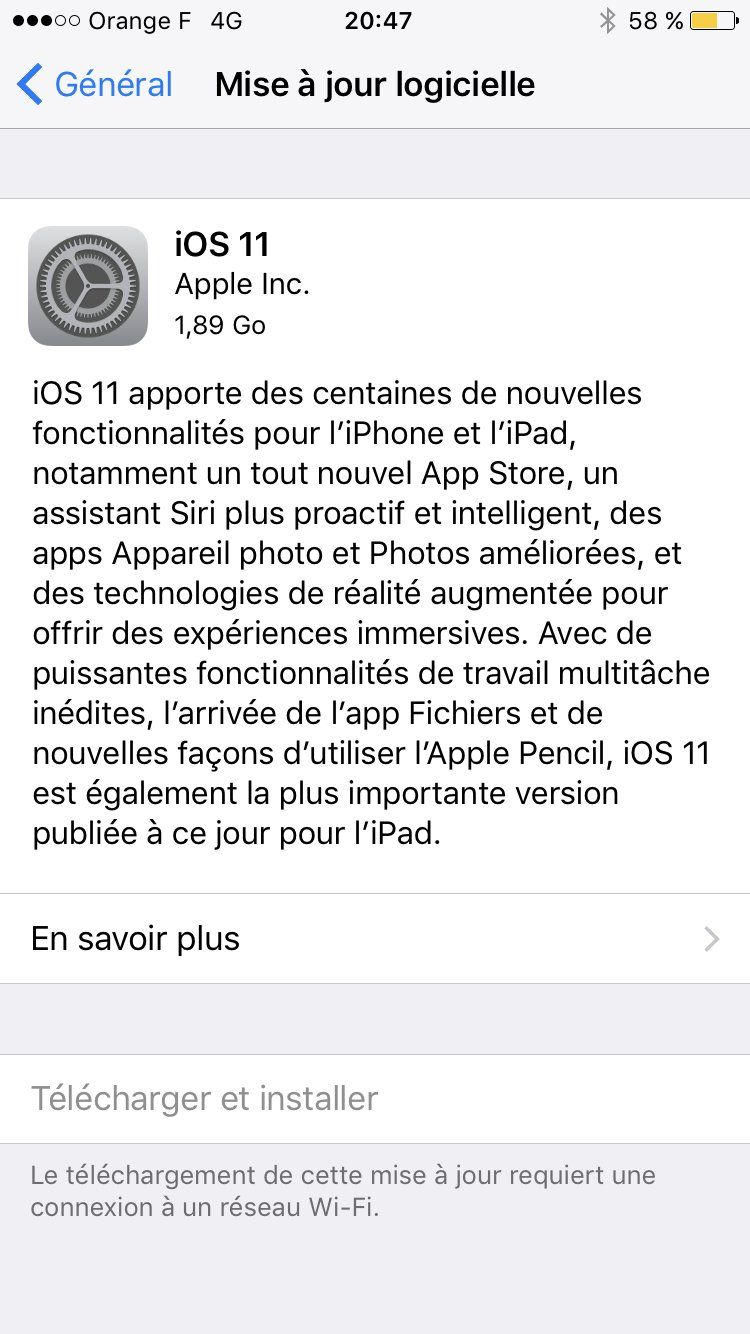 ios 11 iphone 7 mise a jour