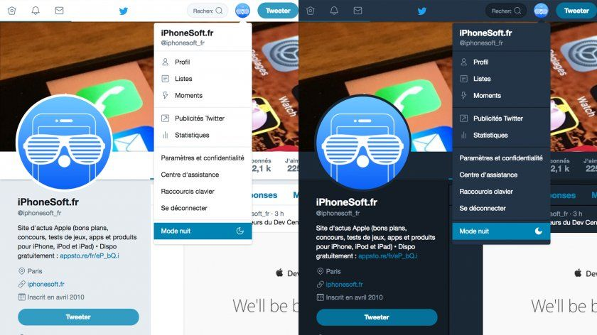 twitter mode nuit version web desktop ordinateur