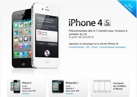prix des iphone 4s sans abonnement iphone 4 s sans. Black Bedroom Furniture Sets. Home Design Ideas