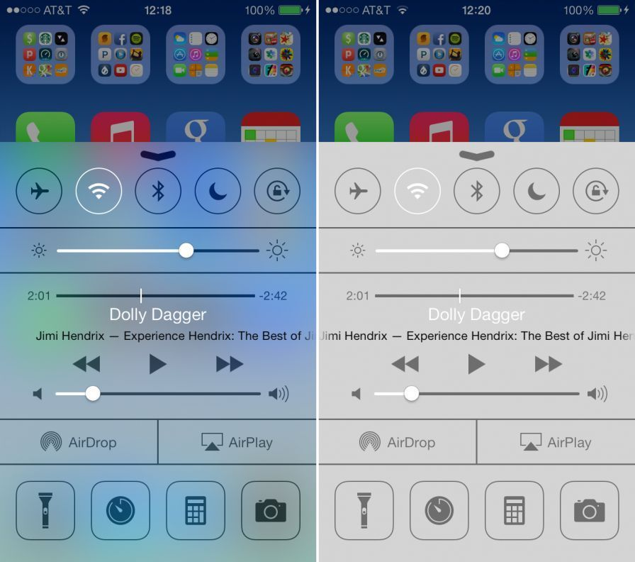 blur contrast ios 7 control center