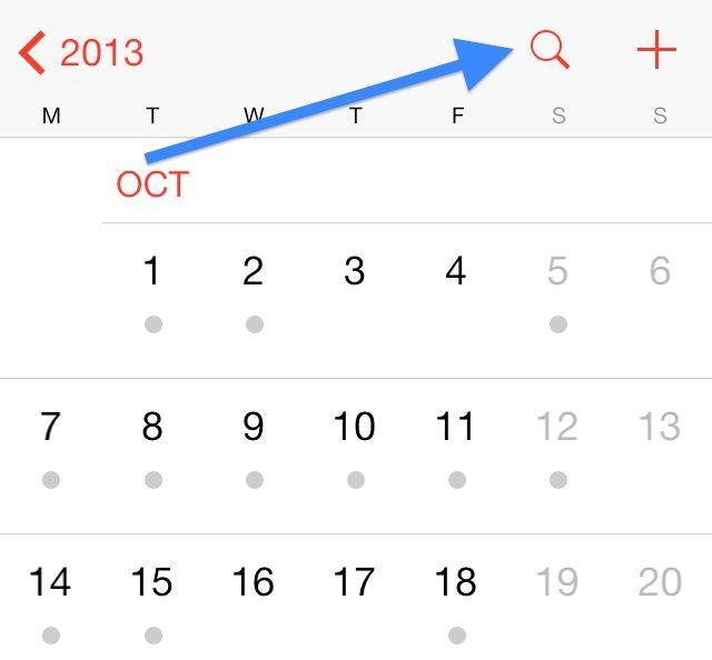 list view ios 7 calendrier