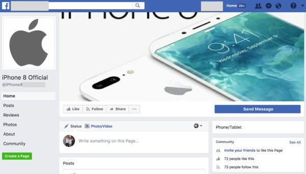 iphone facebook fake