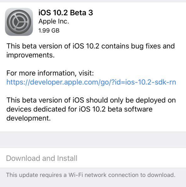 IOS 10.2 bêta 3 maintenant disponible pour les bêta-testeurs