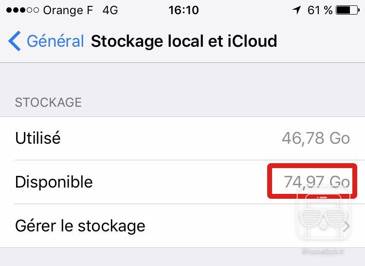 tuto iphone stockage gagner ios 10
