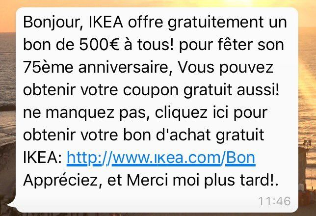 il y a une arnaque li e ikea sur whatsapp. Black Bedroom Furniture Sets. Home Design Ideas