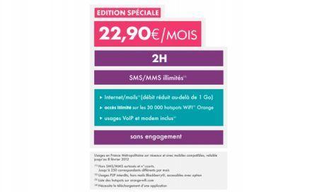 Sosh : 2h + SMS illimité + internet 1Go à 22,90 euros