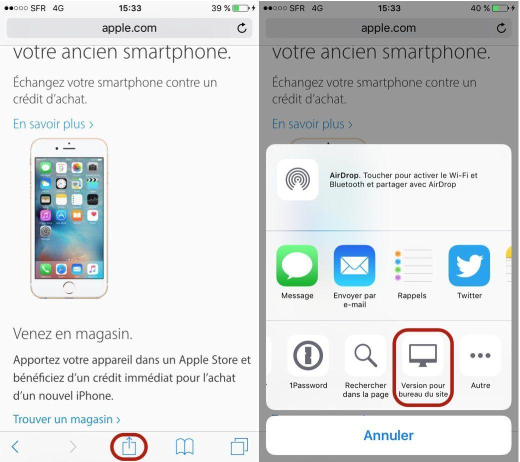 Aux utilisateurs de produits Apple, notamment iOS 10/ Safari, Mac OS 10 Siteclassiqueios9