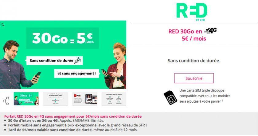 sfr red carte sim gratuite RED SFR : un forfait 30 Go à vie pour 5€ par mois   iPhone Soft