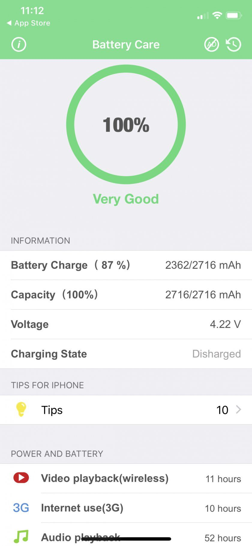 coconut battery life check iphone x