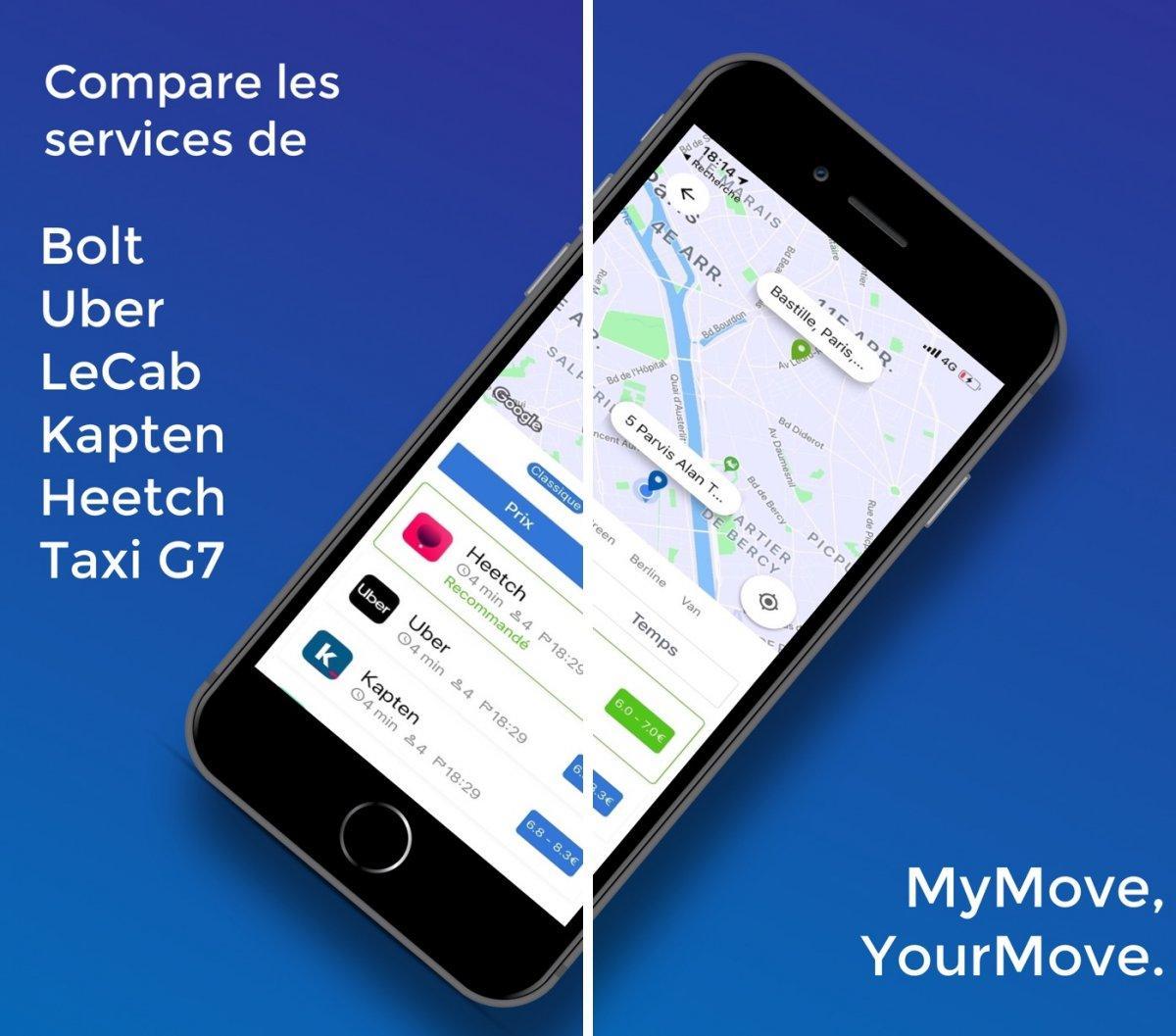 Mymove Le Comparateur Des Prix Des Courses De Vtc Iphone Soft