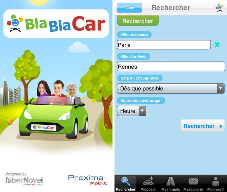 blablacar app gratuite iphone pour voyager en france et en europe petits prix