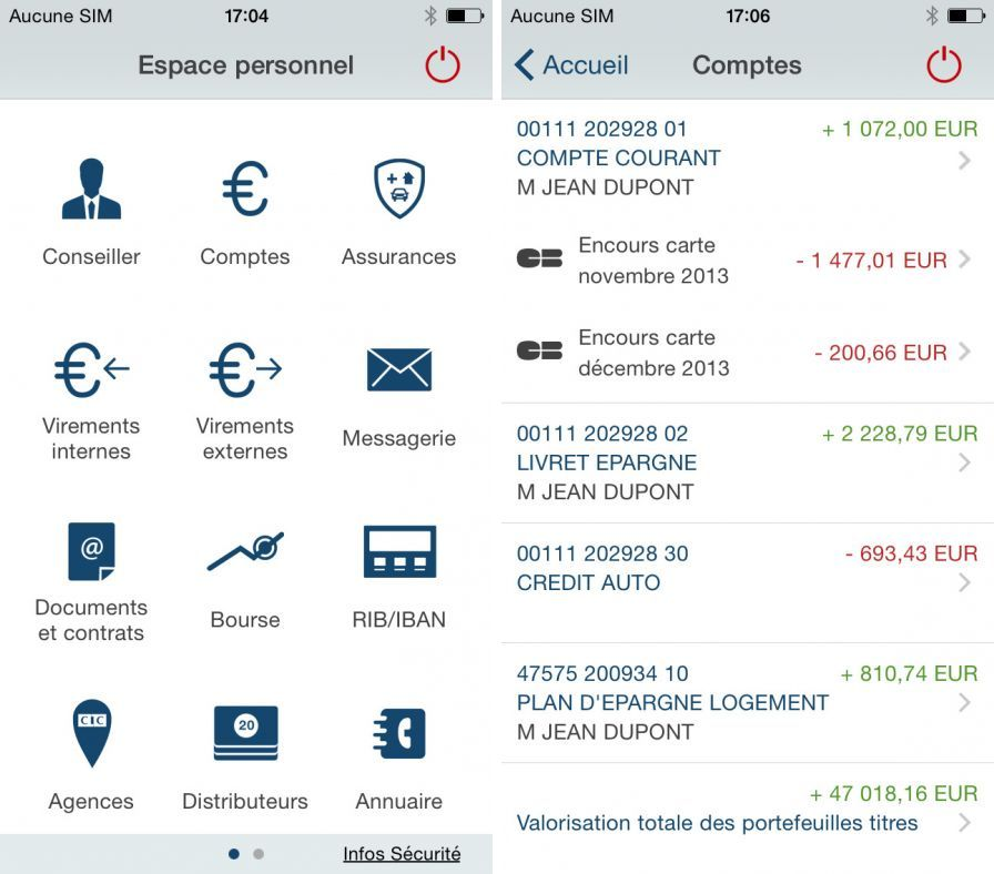 Iphone  Credit Mutuel