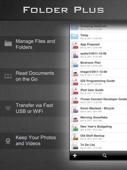 File manager folder plus ipad